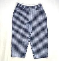 "Lee Blue Plaid Print Stretchy Cotton Cropped Capri Skater Pants S 28.5"" ... - $8.90"