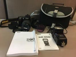 Nikon D90 12.3 MP Digital SLR Camera DX VR Zoom Nikkor18-105mm Lens + Ex... - $546.97