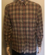 Men's Pendleton Long Sleeve Button Front Large Pure Wool Plaid Shirt Bro... - $38.69