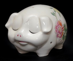 Pig Figurine Sachet Potpourri Pig Floral Design Made in Japan Vintage - $17.33