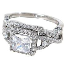 2Pcs Ring Silver Plated Cubic Zircon Rings Set Lovely Wedding Ring - $15.29