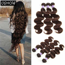 Dark Brown Brazilian Body Wave 3 Bundles 100% Human Hair Extensions 300g - $75.71+