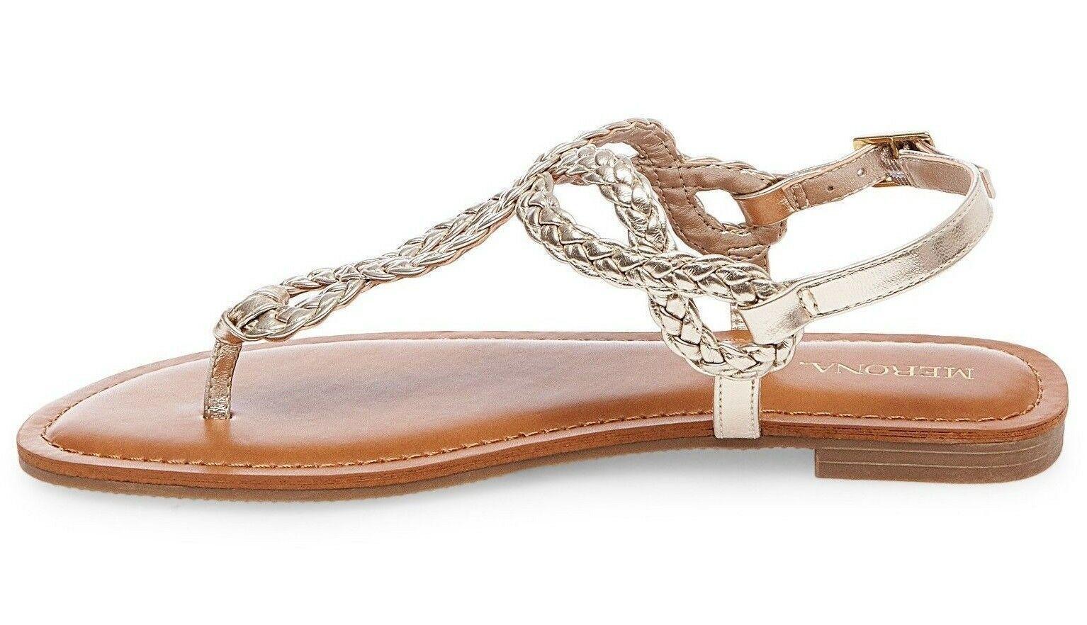 Neuf Femmes Merona Jana Trimestre Bracelet Plat Sandales à Lanières en Or Nwt
