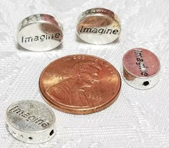 IMAGINE WORD FINE PEWTER OVAL DISC BEAD - 11mm x 9mm x 3mm image 2