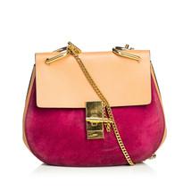 Pre-Loved Chloe Red Suede Leather Medium Drew Crossbody Bag France - $795.99