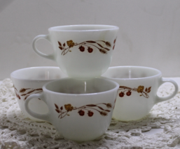 Vintage set of 4 PYREX Coffee/Tea Cups - HARVEST HOME Pattern - $15.00