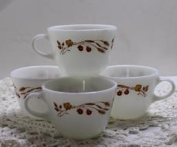 Vintage set of 4 PYREX Coffee/Tea Cups - HARVEST HOME Pattern - $15.00
