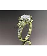 Nature inspired engagement ring, 14k yellow gold diamond engagement ring... - $2,945.00