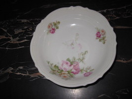 PK SILESIA China Serving Bowl Pink Roses Flowers White - $12.38