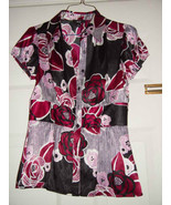 AGB Black Purple Pink White Flowers Botton Up Ladies Top Size Small - $8.00