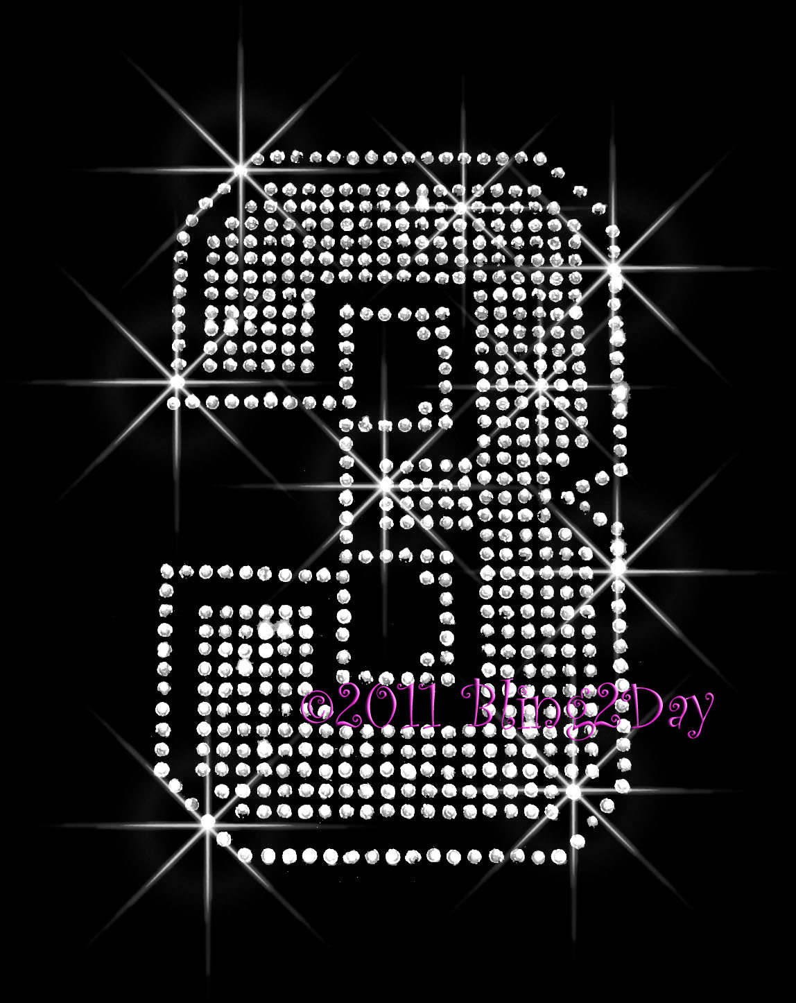 Primary image for Large Jersey Number 3 - Iron on Rhinestone Transfer Bling Hot Fix Sports Mom-DIY