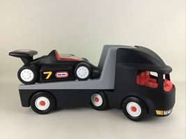 Semi Truck Hauler Indy Race Car Little Tikes Rugged Riggz Vintage 80s Vehicle - $128.65