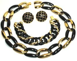 Napier Black Gold Necklace Bracelet Earring Parure - $125.00