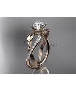Enagagement ring,14kt  rose gold diamond leaf and vine wedding ring, eng... - $1,265.00
