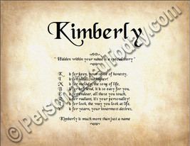 Kimberly Hidden Within Your Name Is A Special Story Letter Poem 8.5 x 11... - $8.95