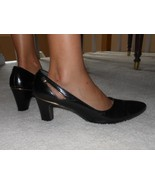 Vtg Julianelli Black Leather Pumps High Heel Dress Shoes Cut Out Gold Tr... - €8,36 EUR