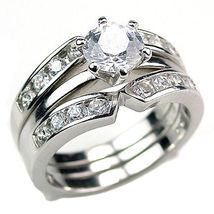2.2c Russian Ice CZ 3 in 2 Wedding Set w Ring Guard s 6 - $69.95