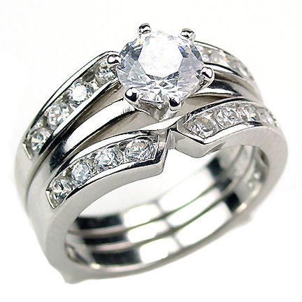 2.2c Russian Ice CZ 3 in 2 Wedding Set w Ring Guard s 7