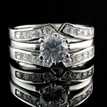 2.2c Russian Ice CZ 3 in 2 Wedding Set w Ring Guard s 9