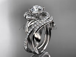 Unique Platinum diamond leaf and vine engagement ring set ADLR222S - $3,295.00