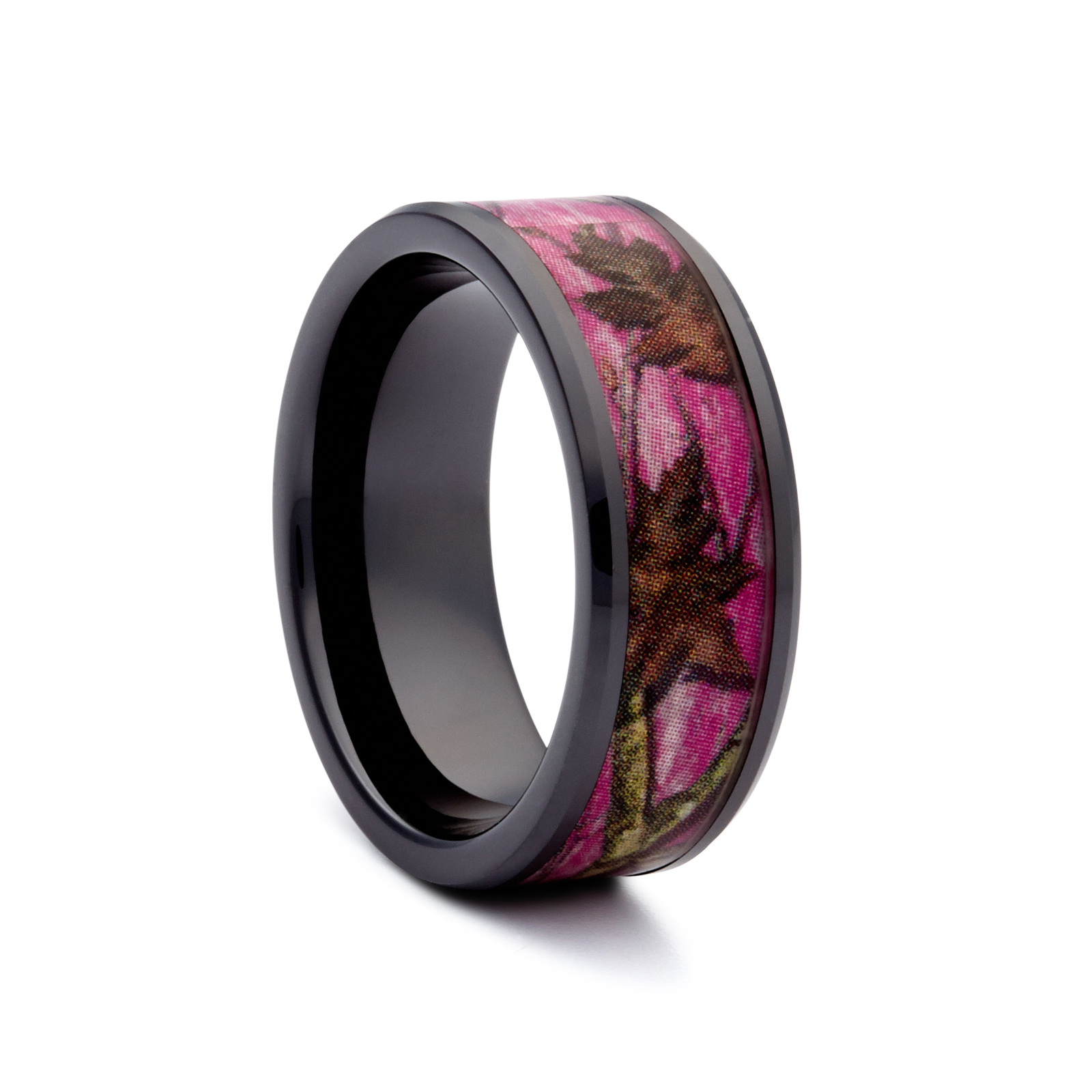 Wedding Rings With Pink Pink Camo Wedding Rings Black Ceramic Band Hunting