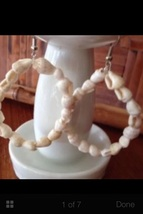 Beach Shell Loop Earrings Natural Tone Pierced Today Is Take the Beach To Work  - $19.99