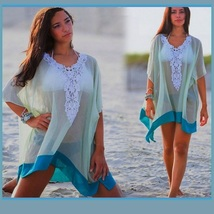 Lace Crochet Collar Pale Sea Green Chiffon Loose Sheer Beach Cover Up Tunic Top