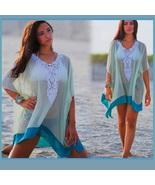 Lace Crochet Collar Pale Sea Green Chiffon Loose Sheer Beach Cover Up Tu... - $34.95