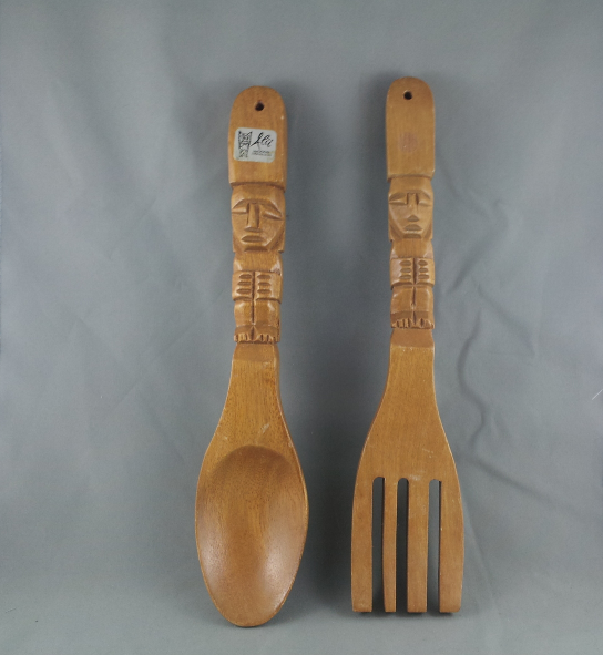 Primary image for Genuine Monkey Pod Fork and Spoon with Tiki Design - By Alii Woods !!!
