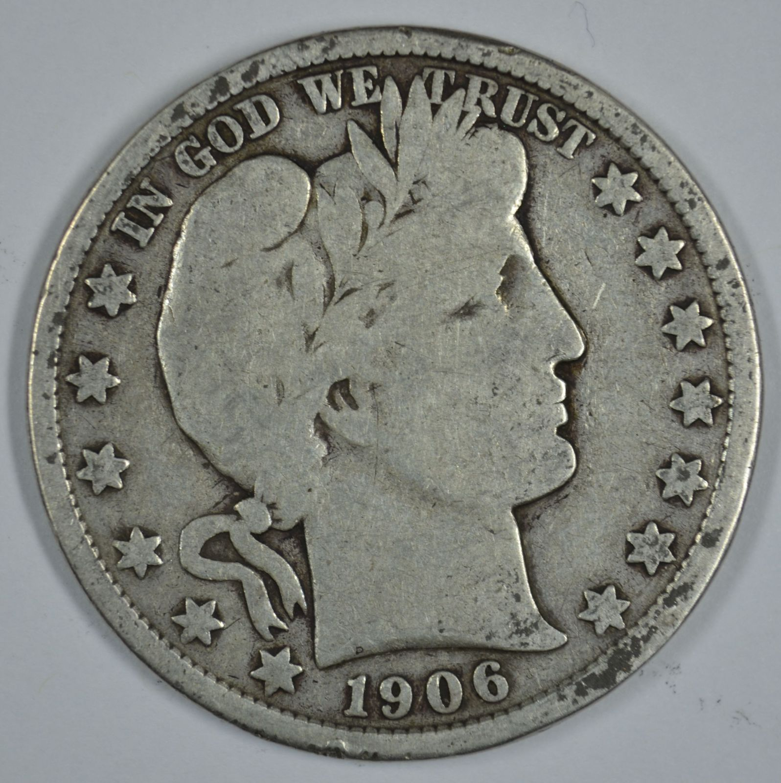 Primary image for 1906 D Barber circulated silver half
