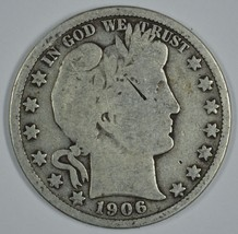 1906 P Barber circulated silver half - $19.00