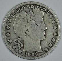 1906 P Barber circulated silver half - $19.00