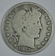1907 D Barber circulated silver half - $19.00