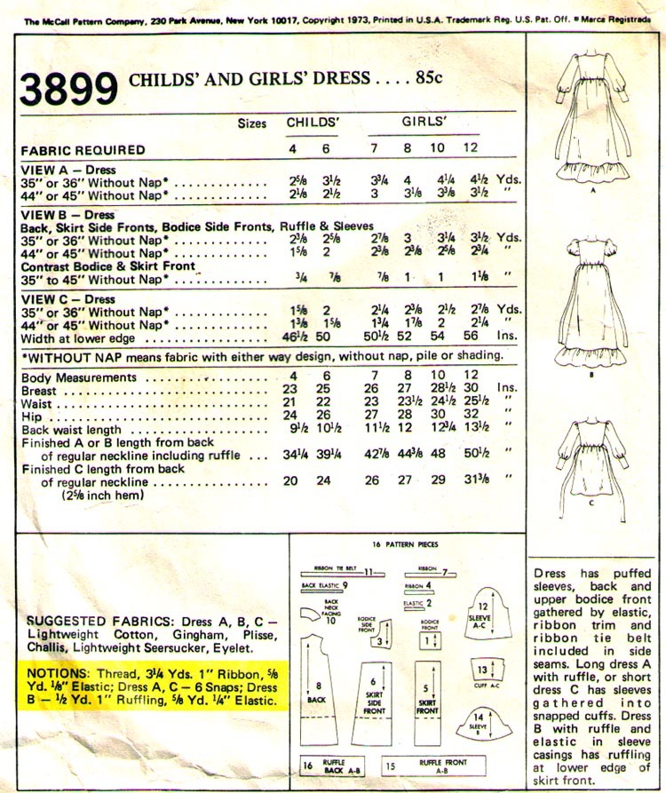 1973 Child's DRESSES Pattern 3899-m  Size 7