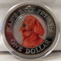 Cook Islands Red Setter Dog 2003 Color Coin Uncirculated - $34.29