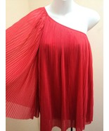 Topshop 2 One Shoulder Top Coral Pink Knife Pleat Wide Sleeve Tunic UK 6 - $23.49