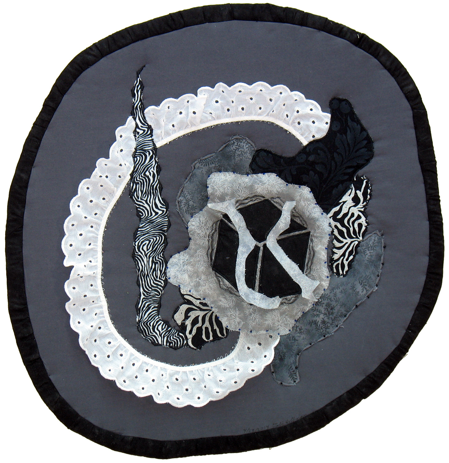 Grayscale: Absract Quilted Art Wall Hanging