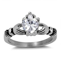 Size 12 Claddagh ring CZ Heart cut Crown Stainless Steel Irish New 1 ct 316L q16 - $9.73