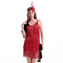 Sexy Woman Refinement Uniform Underwear Tassel Dress Halloween   red - $39.89