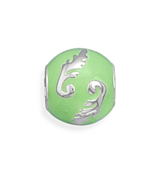Sterling Silver Story Beads Green Bead with Leaf Design European Charm Bead - $29.70