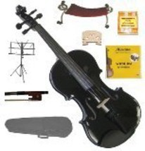 Merano 1/2 Black Violin,Case,Bow,Strings,Rosin,Bridges,Tuner,Shoulder Re... - $70.00