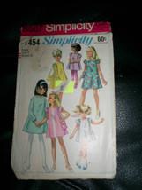 Vintage 60's Girl Dress Bag Pocketbook Simplicity #7454 Pattern Size 4 - $9.89
