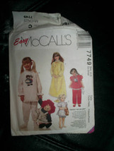 Girls Nightgown Pajama Pattern McCall's #7749 Size XS 2 4 No Transfer - $6.99