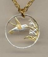 Trinidad & Tobago 1 cent (Hummingbird), pendent with necklace - $59.00