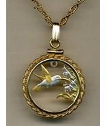 Trinidad & Tobago 1 cent (Hummingbird), cut coin gold & silver pendant n... - $110.00