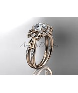 Rose gold bow engagement ring, 14kt rose gold diamond unique engagement ... - $1,899.00