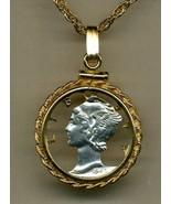"U.S. Mercury dime ""90% silver"". gold & silver cut coin pendant necklace - $100.00"