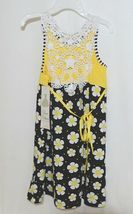 Rare Editions Girls Cotton Lace Sleeves Back Yellow Black Flowers Size 5 image 4
