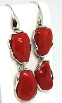 Silver Earrings 925, Hanging, Red Coral Natural Cabochon, Italy Made image 3