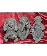 Unique Three Carved MONKEYS Hear No Evil, See No Evil, Speak No Evil  - $79.46